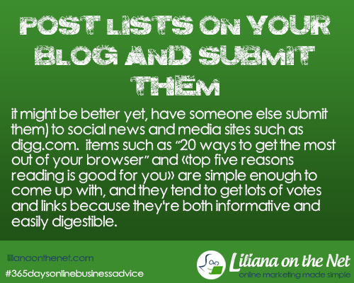 Post Lists on Your Blog and Submit them to Websites