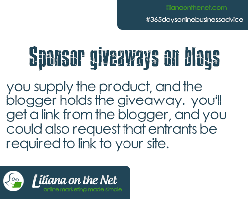 Sponsor Giveaways on Blogs