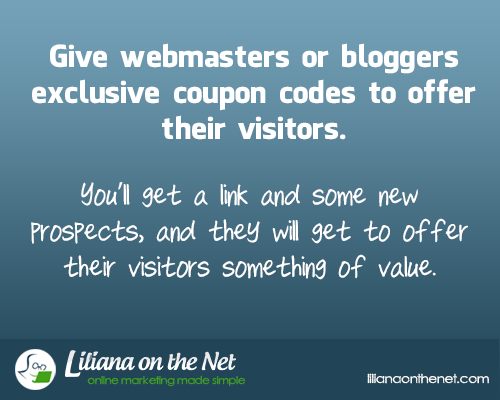 Give Webmasters or Bloggers Exclusive Coupon Codes to offer their visitors